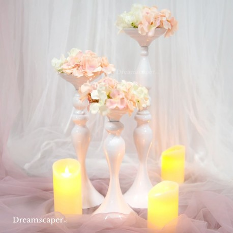 White Candlestand Vase Rental Singapore