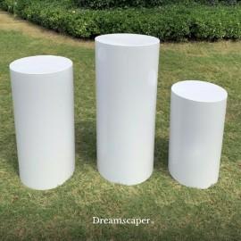 Rent: White Metal Cylinder (Set of 3)