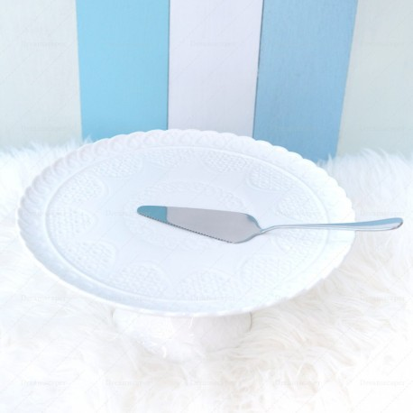 White Cake Stand with Knife