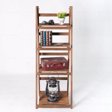 Rustic Wooden Folding Shelf (Brown)