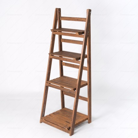 Rustic Wooden Ladder Shelf (Brown)