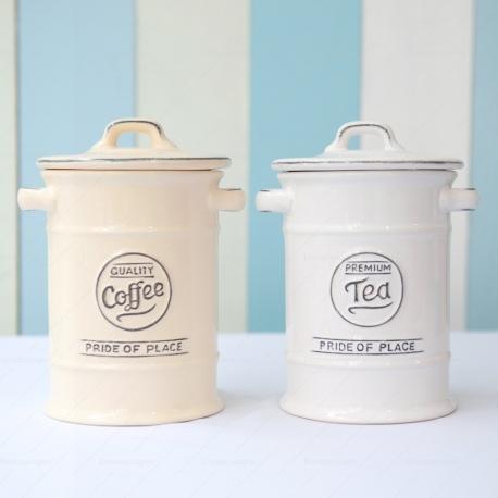 Rustic Coffee Tea Ceramic Jar