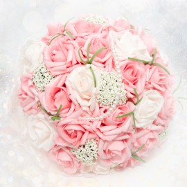 Peach Pink Rose Hand Bouquet