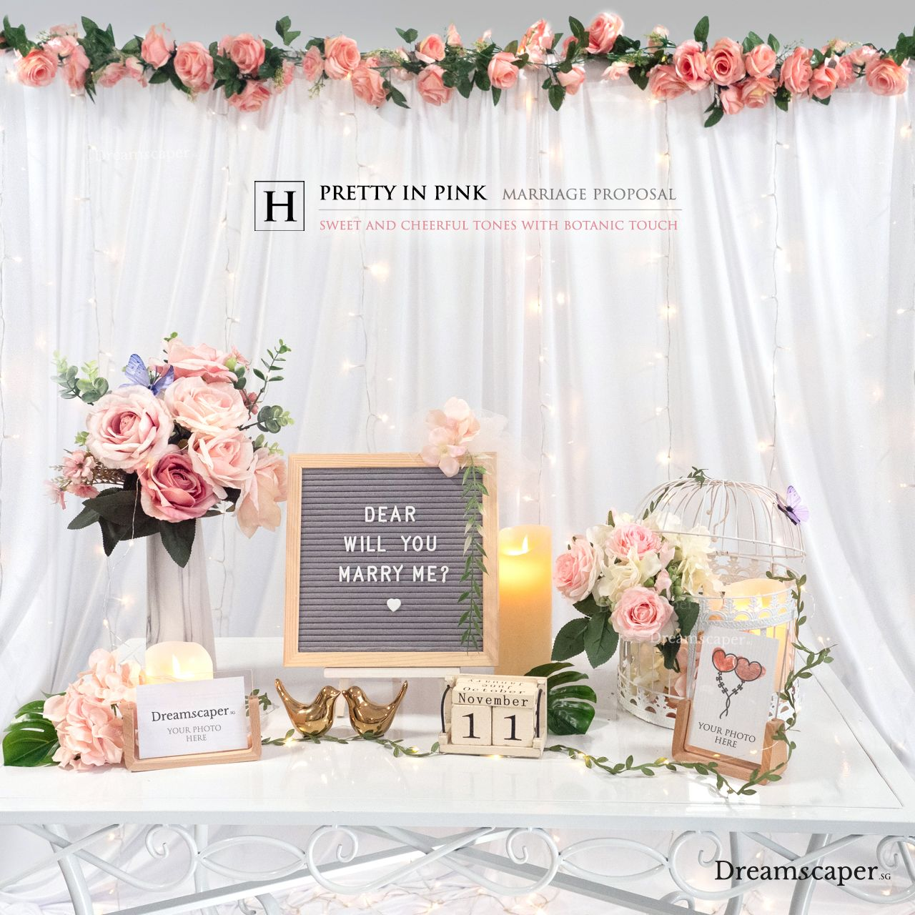 Singapore Marriage Proposal Package - Pretty In Pink